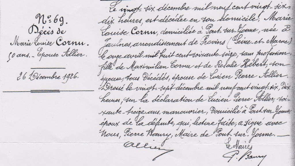 Marie Louise CORNU acte de décès