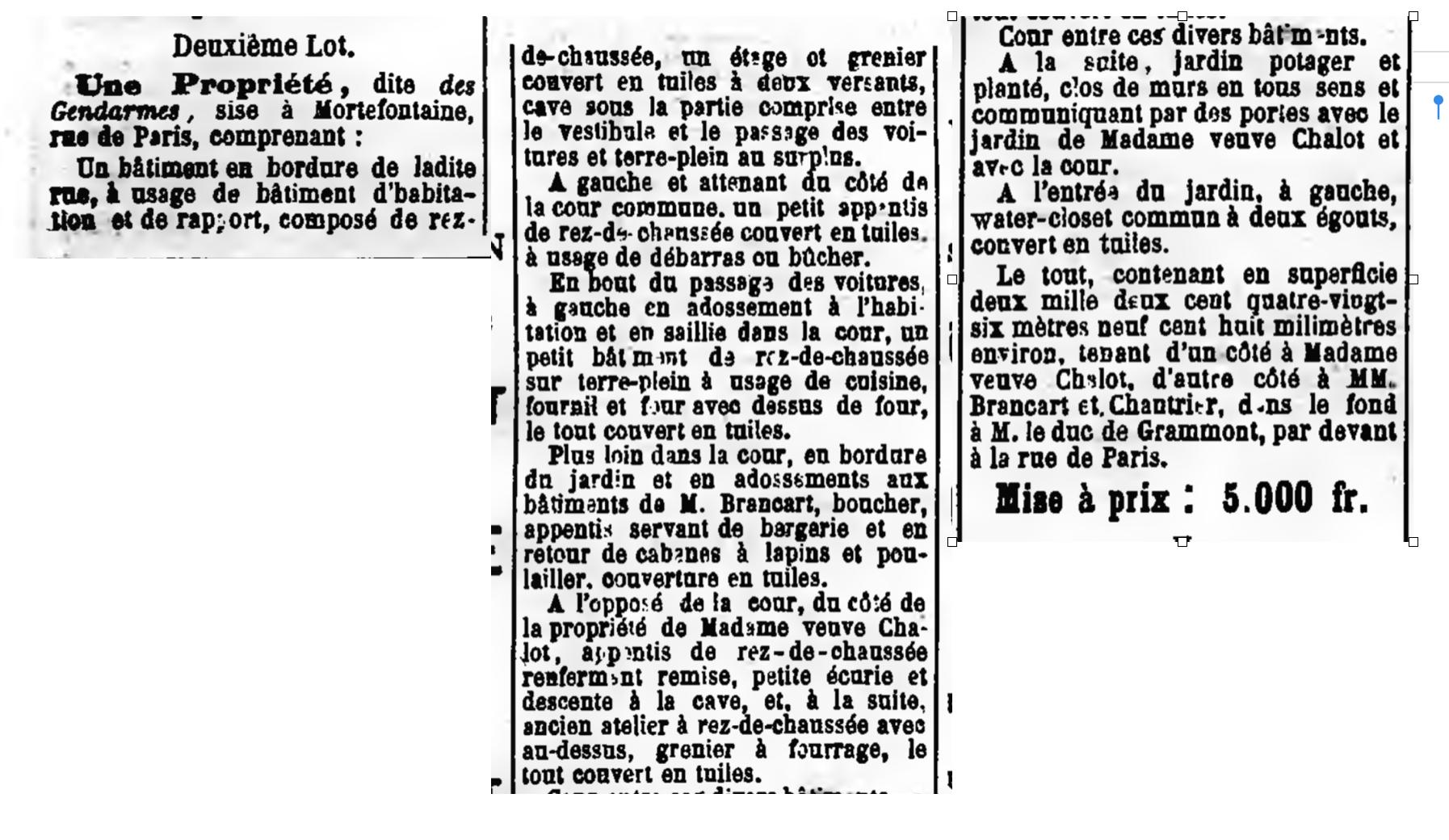 Extrait publication de vente aux enchères maison des Gendarmes, Courrier de l'Oise, 28 Décembre 1902 - Challenge AZ lettre G
