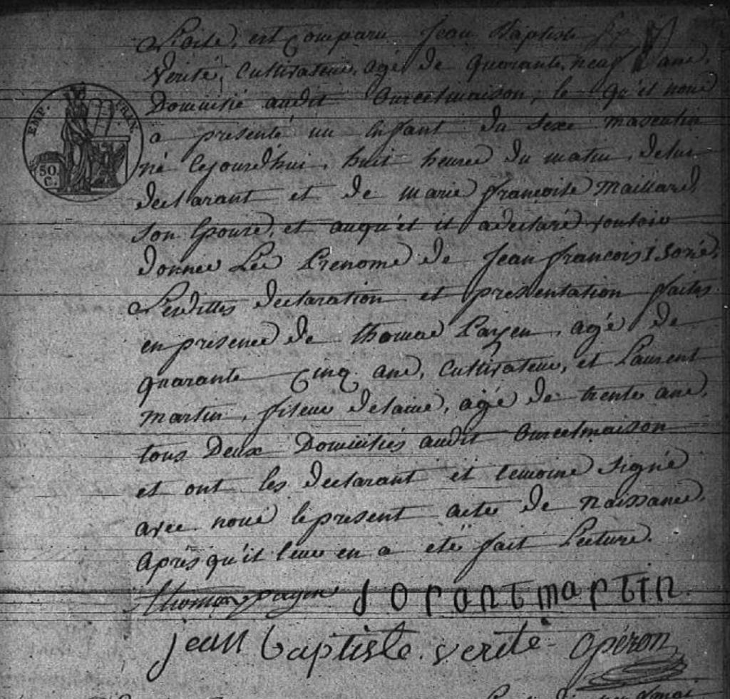 Acte de naissance de Jean François Isoré VÉRITÉ, AD Oise