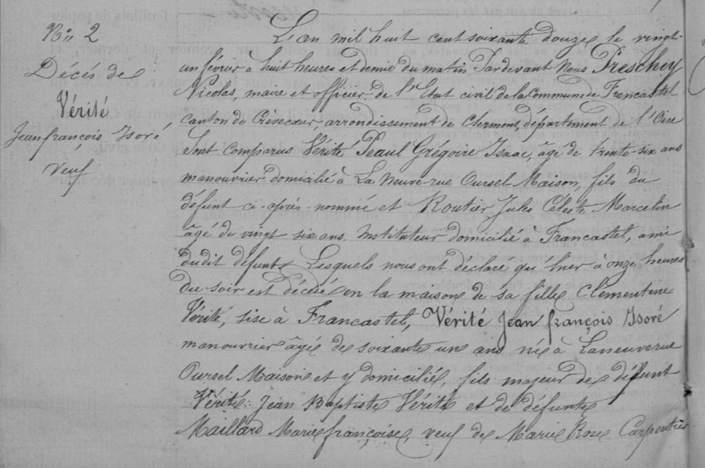 Acte de décès de Jean François Isoré VÉRITÉ, AD Oise