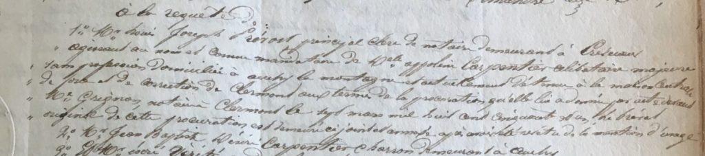 Extrait de l'acte de vente aux enchère de Jean Baptiste Eloi CARPENTIER