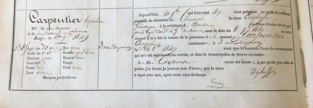 Appoline Carpentier Registre d'écrous