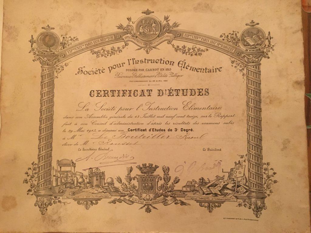 Photo du certificat d'études de Raoul LE BOUTEILLER