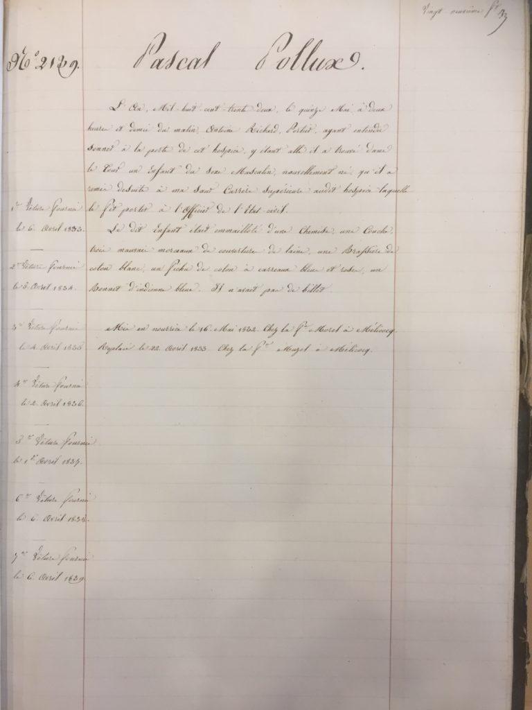 Isidore Castor, Dossier de l'hospice de Compiègne de Pascal POLLUX
